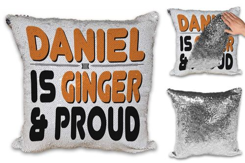 Personalised Ginger & Proud Funny Novelty Sequin Reveal Magic Cushion Cover